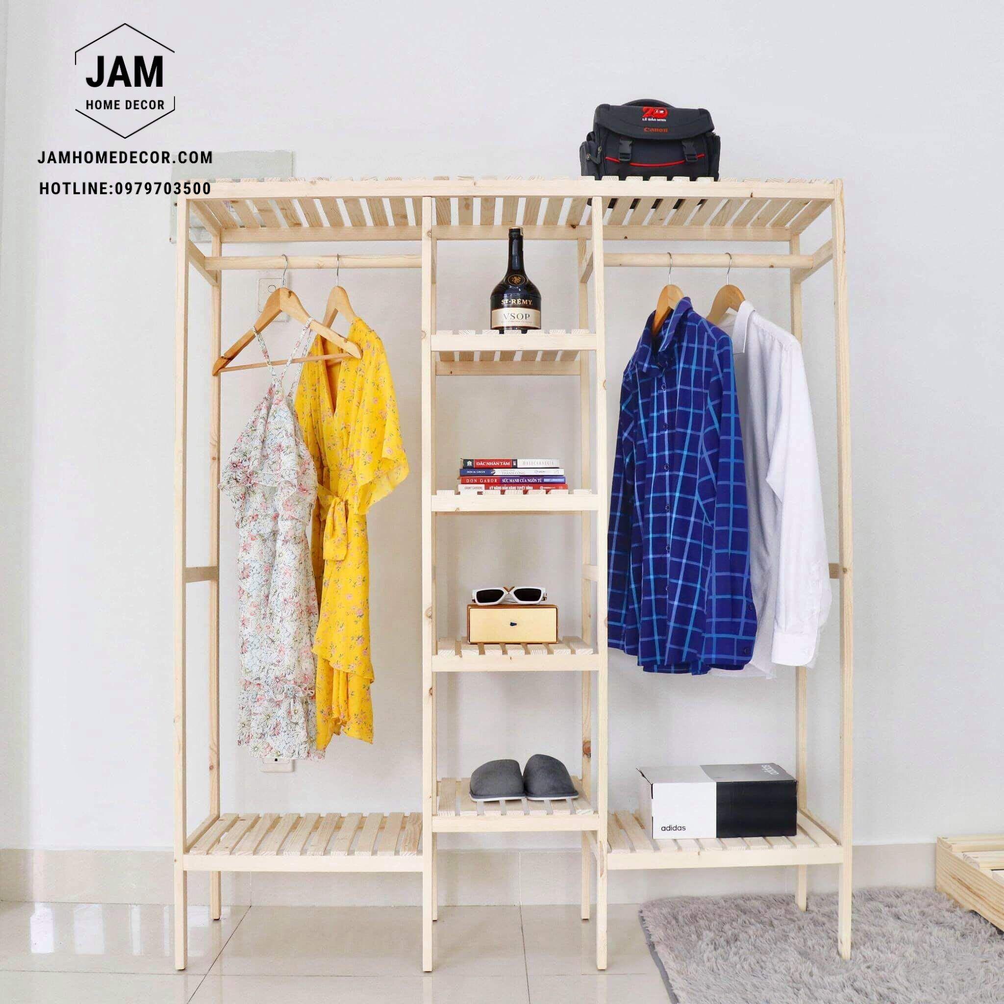 tủ treo quần áo đôi bằng gỗ thông, nội thất kiểu hàn tại đà lạt